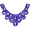 Motif Sequin/beads 27x11.5cm U Shape with crystal stones Royal blue